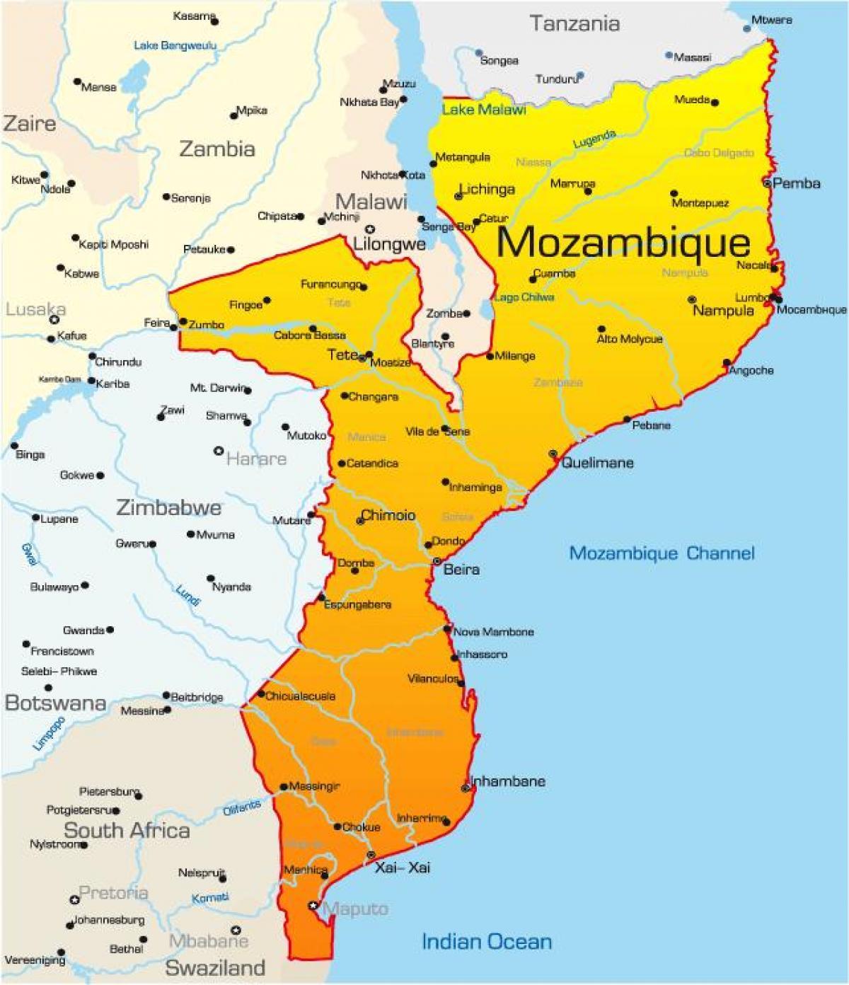 Resultado de imagem para mapa de moçambique